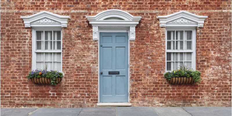Pale blue front door