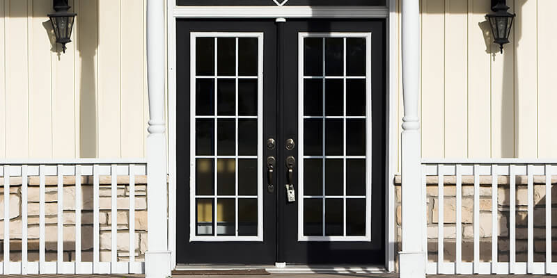 black and white french patio doors