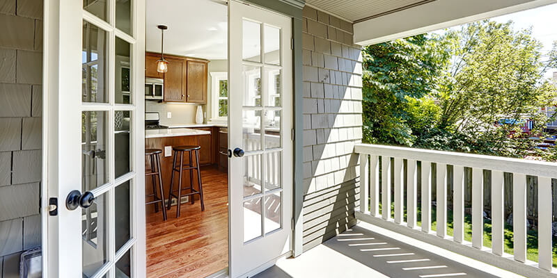 French doors on balcony